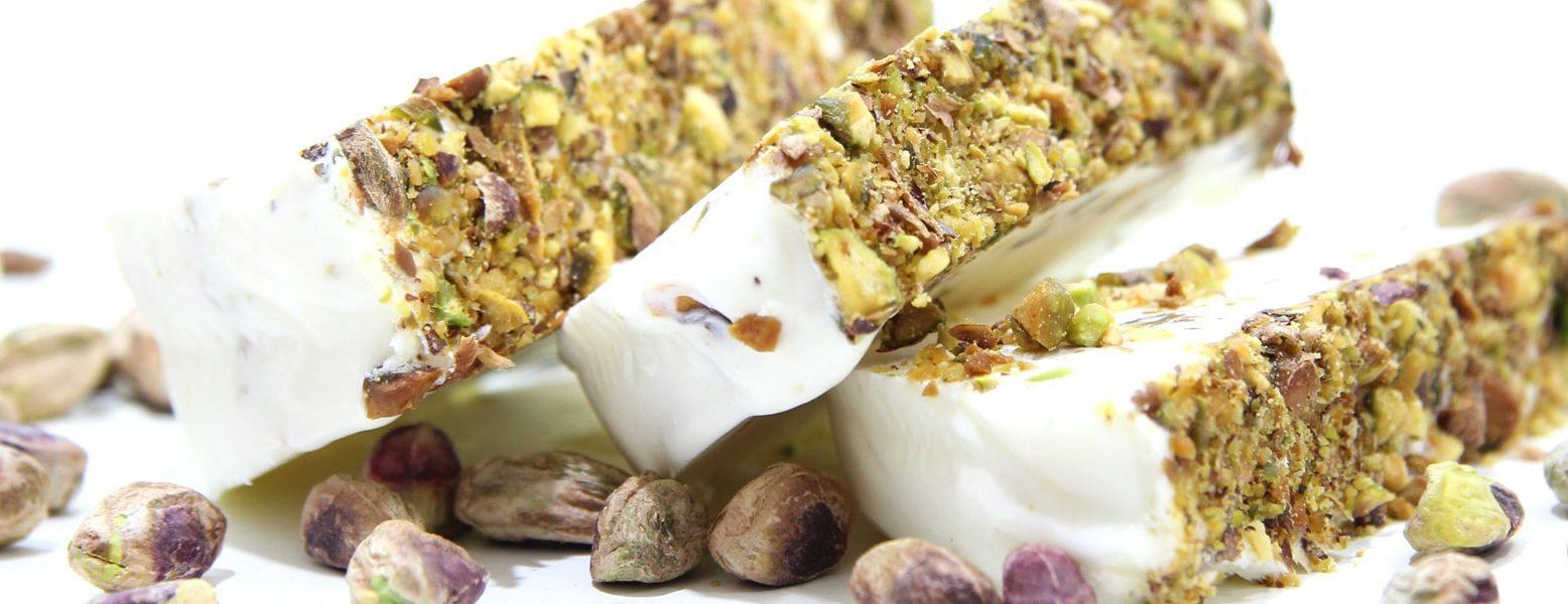 Arab ice cream with pistachios